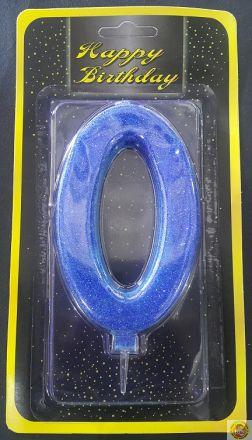 Свещичка гигант синя с брокат 0