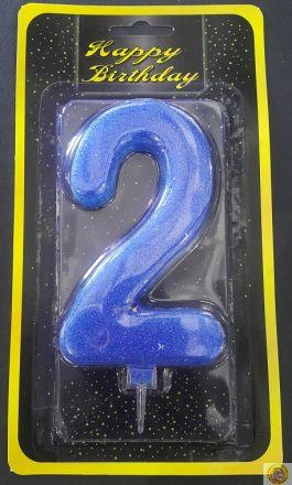 Свещичка гигант синя с брокат 2
