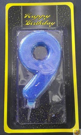 Свещичка гигант синя с брокат 9
