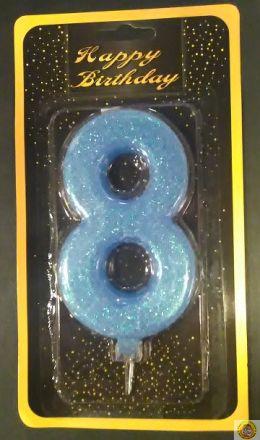 Свещичка гигант светло синя с брокат 8