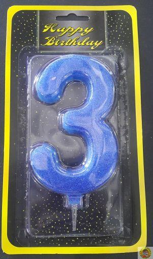 Свещичка гигант синя с брокат 3