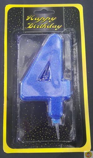 Свещичка гигант синя с брокат 4