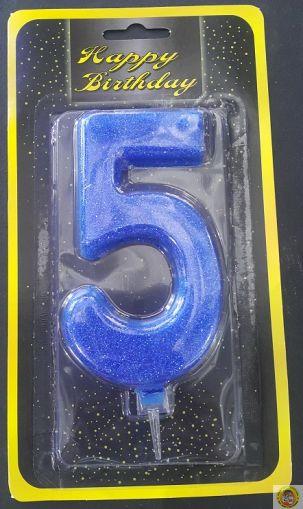 Свещичка гигант синя с брокат 5