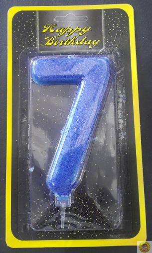 Свещичка гигант синя с брокат 7
