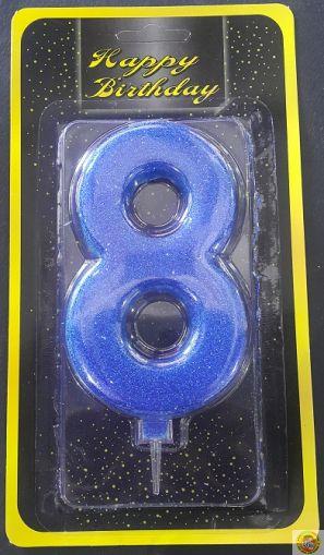 Свещичка гигант синя с брокат 8
