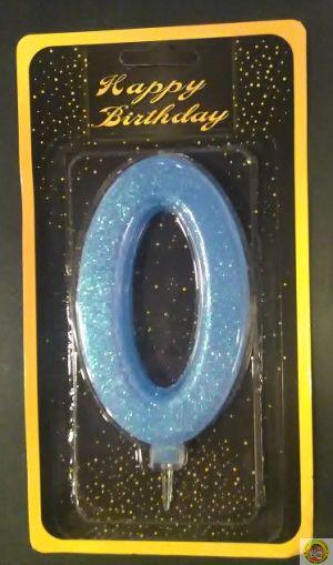 Свещичка гигант светло синя с брокат 0