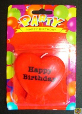 Свещичка за рожден ден Сърце с надпис