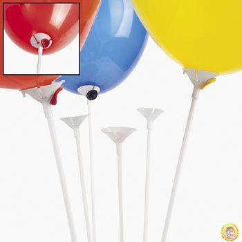 Комплект пръчка с чашка за балони 42см-100бр.-бели