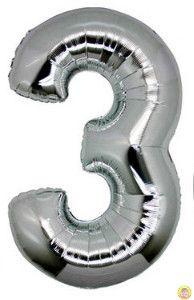 Фолиев балон цифра 3,сребърен - голям-80см