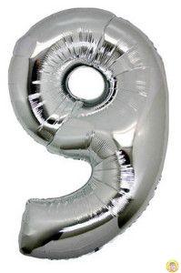 Фолиев балон цифра 9,сребърен - голям-80см
