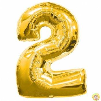 Фолиев балон цифра 2,златен - голям-80см
