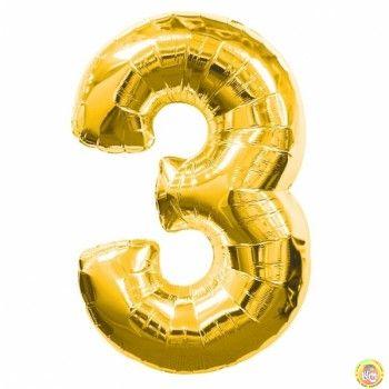 Фолиев балон цифра 3,златен - голям-80см