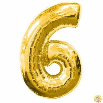 Фолиев балон цифра 6,златен - гигант-100см