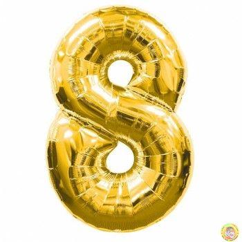 Фолиев балон цифра 8,златен - гигант-100см