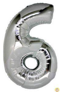 Фолиев балон цифра 6,сребърен - гигант-100см