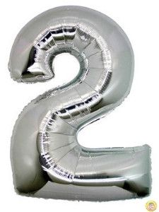 Фолиев балон цифра 2,сребърен - гигант-100см