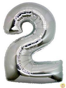 Фолиев балон цифра 2,сребърен - голям-80см