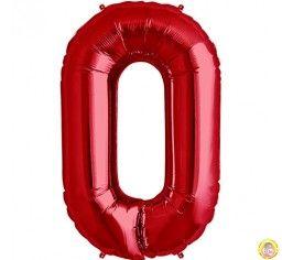 Фолиев балон цифра 0,червен - голям-80см