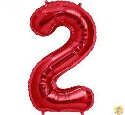 Фолиев балон цифра 2,червена - голям-80см