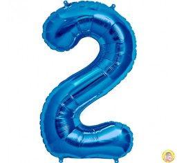 Фолиев балон цифра 2,син - голям-80см