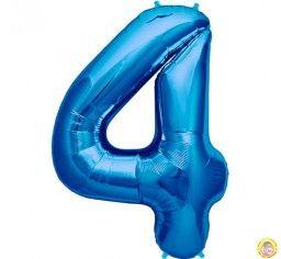 Фолиев балон цифра 4,син - голям-80см