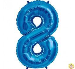 Фолиев балон цифра 8,син - голям-80см