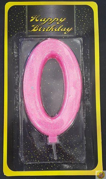 Свещичка гигант розова с брокат 0